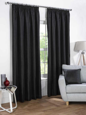 Sophia Ready Made Faux Silk Blackout Curtains Black