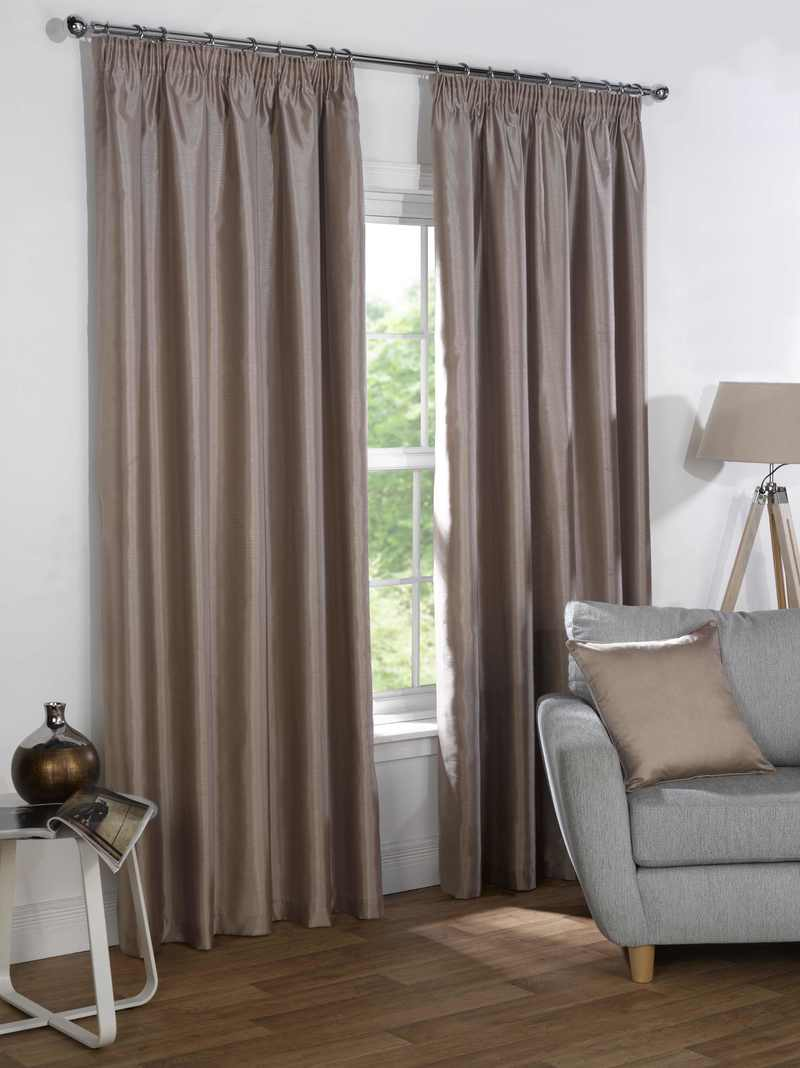 Sophia Ready Made Faux Silk Blackout Curtains Taupe