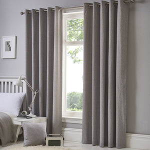 Sorbonne Ready Made Eyelet Curtains Silver