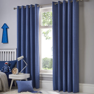 Sorbonne Ready Made Eyelet Curtains Silver Denim
