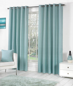 Sorbonne Ready Made Eyelet Curtains Duck Egg Blue