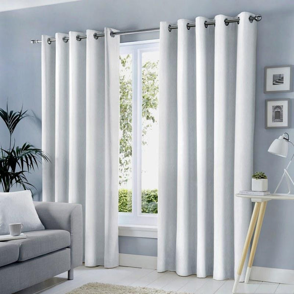 Sorbonne Ready Made Lined Eyelet Curtains White