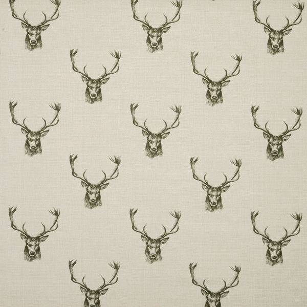 Stags Curtain Fabric Charcoal