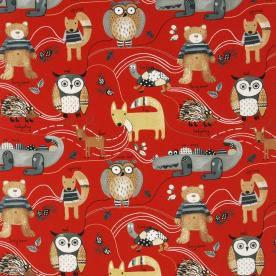 Nature Trail Curtain Fabric Red