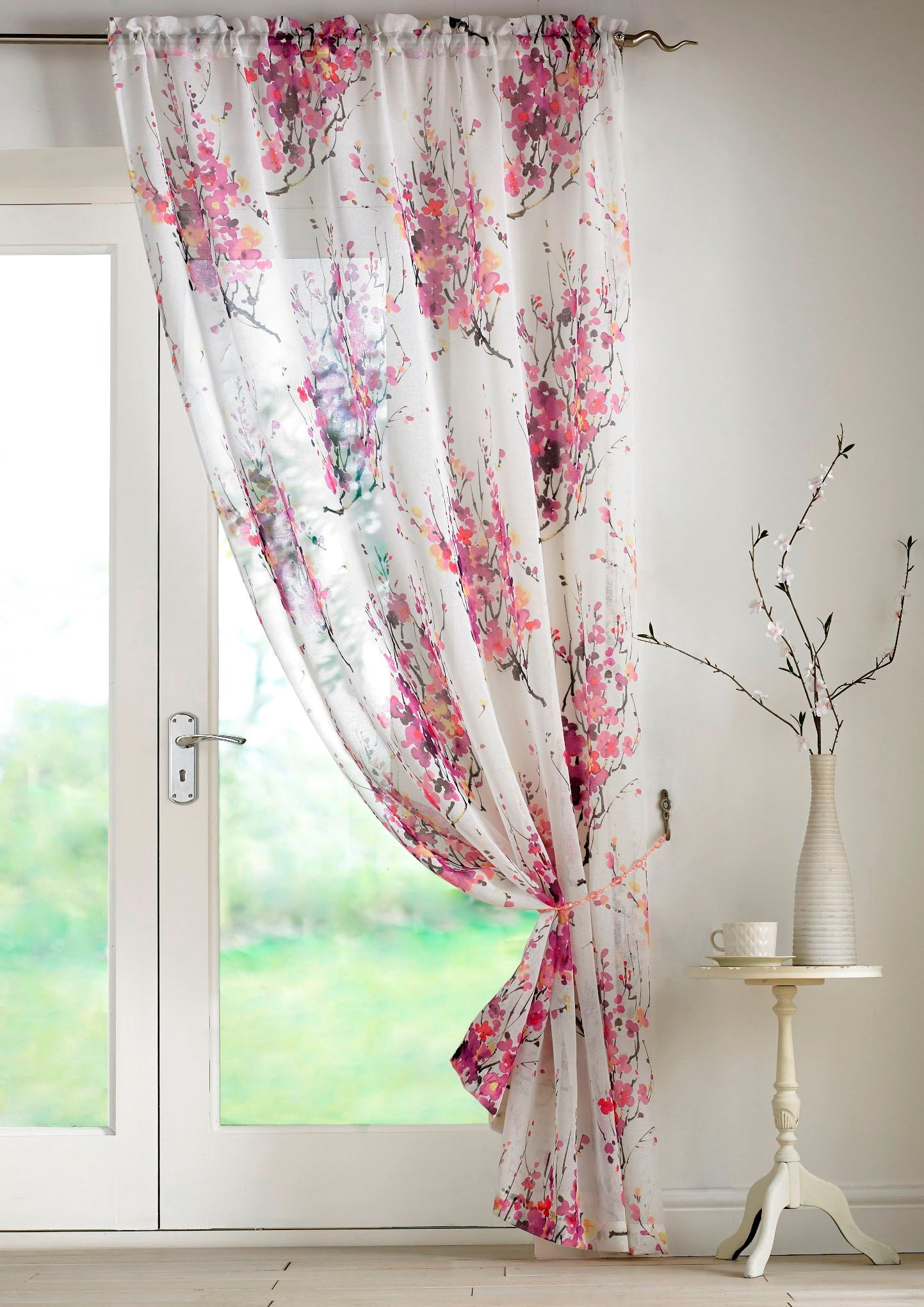Alan Symonds Ready Made Curtains Tokyo Voile Panel Purple Picture
