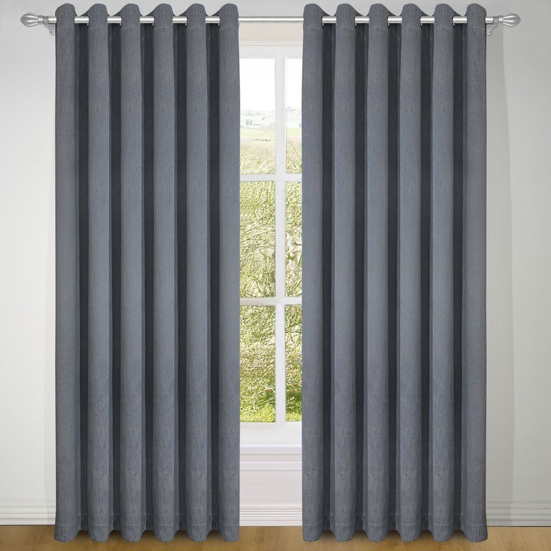 DTI Ready Made Curtains Treebark Ready Made Eyelet Curtains Slate Picture