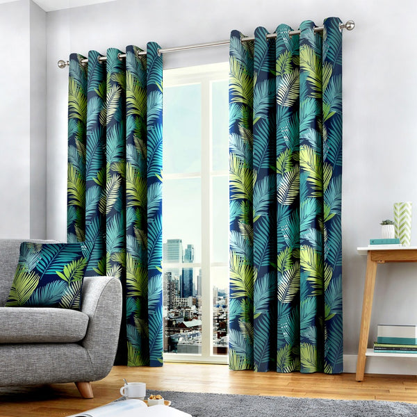 Tropical Ready Made Eyelet Curtains Multi
