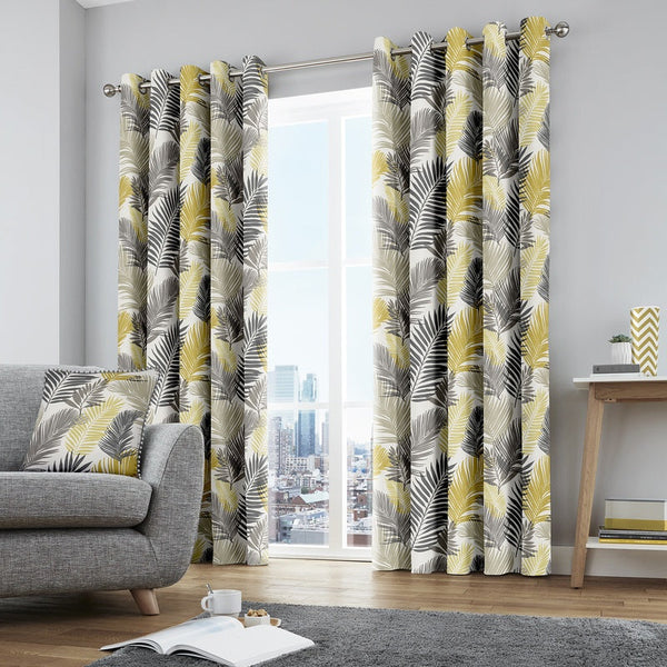 Tropical Ready Made Eyelet Curtains Ochre