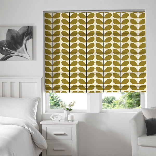 Orla Kiely - Two Colour Stem Roman Blind Olive