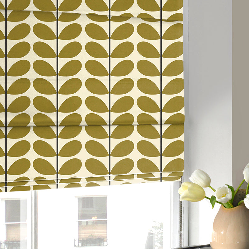 Illuminate Blinds Orla Kiely - Two Colour Stem Roman Blind Olive Picture
