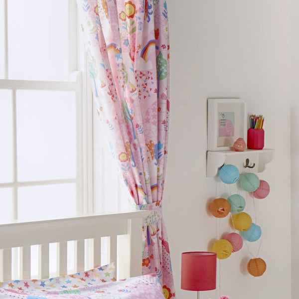 Unicorn Ready Made Lined Curtains 66'' x 72'' Pink