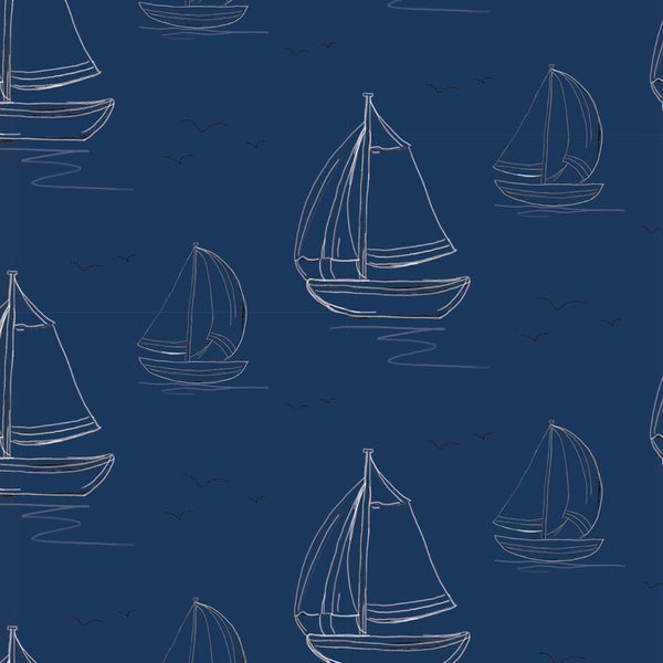 Boats Ready Made Blackout Roller Blind Navy
