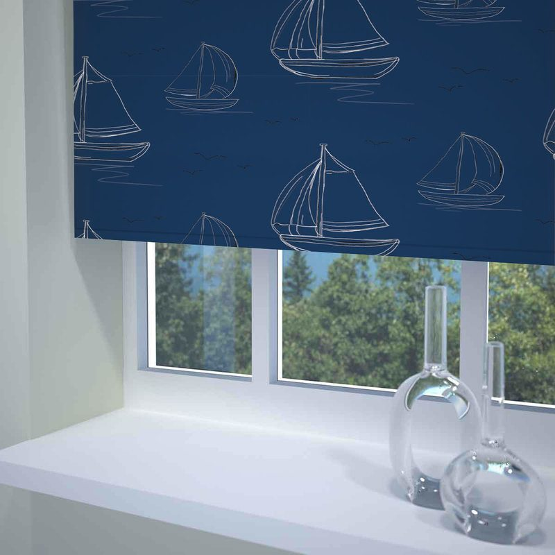Sunflex Blinds Boats Ready Made Blackout Roller Blind Navy Picture