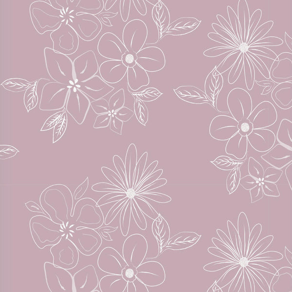 Floral Cluster Ready Made Blackout Roller Blind Pink