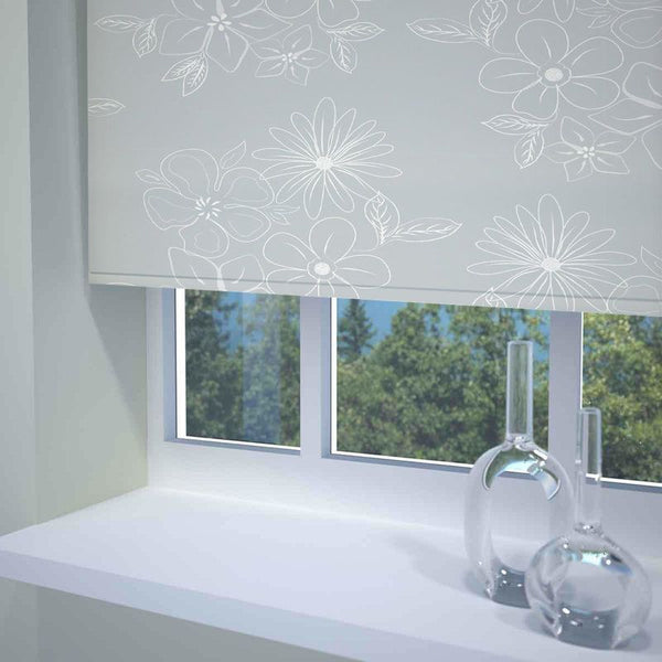 Floral Cluster Ready Made Blackout Roller Blind Grey