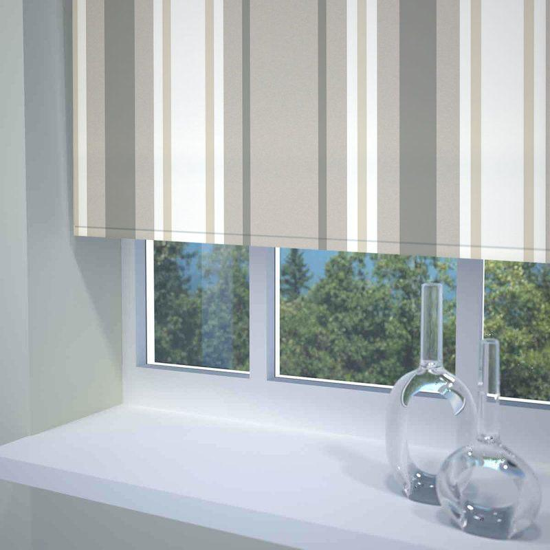 Sunflex Blinds Stripe Ready Made Blackout Roller Blind Neutral Picture