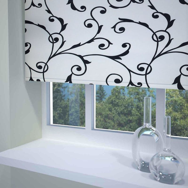 Virginia Ready Made Blackout Roller Blind Black and White