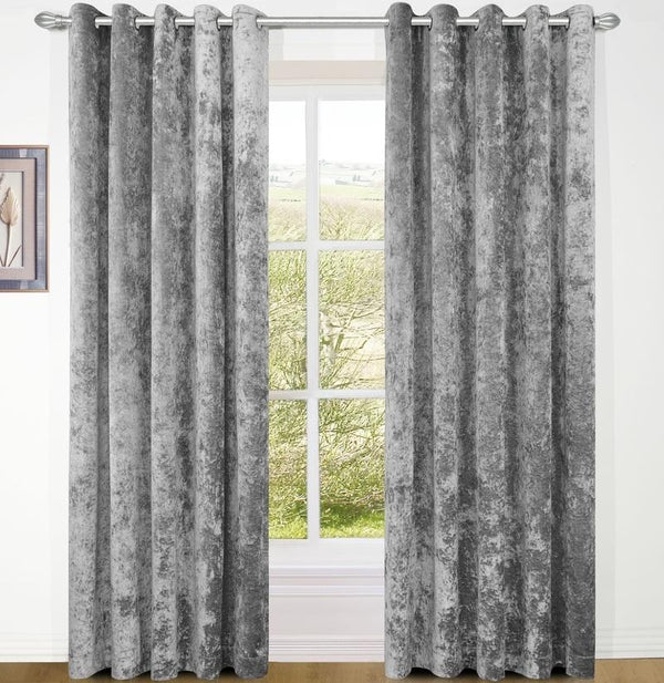 Crushed Velvet Ready Made Lined Eyelet Curtains Silver