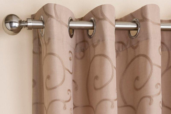Venice Ready Made Lined Voile Curtains Latte