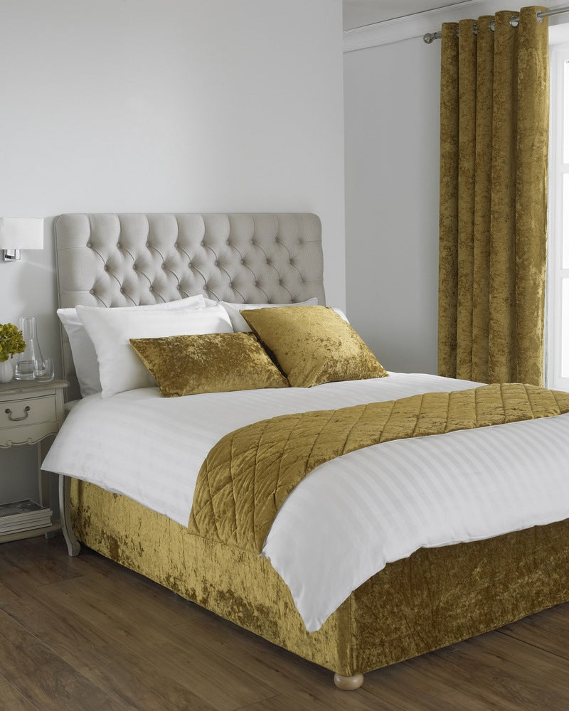 Riva Cushions And Throws Verona Crushed Velvet Bed Runner Ochre Picture