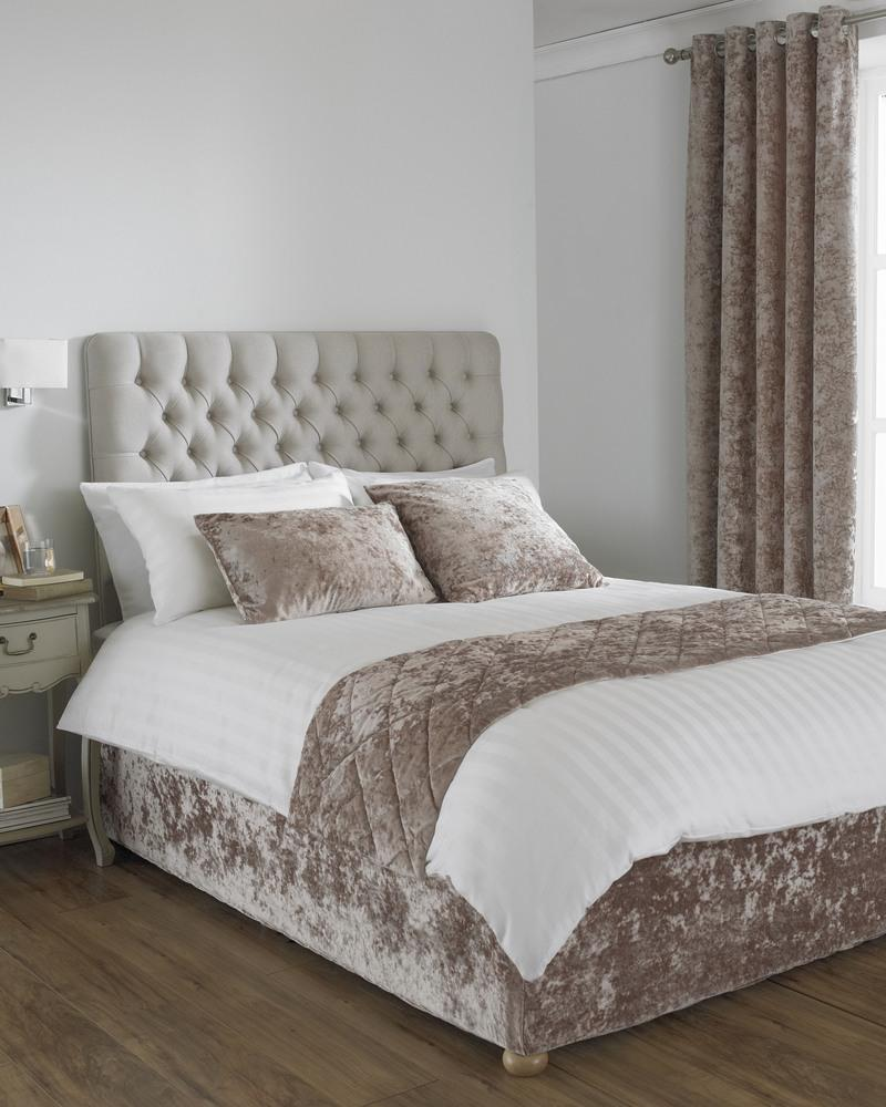 Riva Cushions And Throws Verona Crushed Velvet Bed Runner Oyster Picture