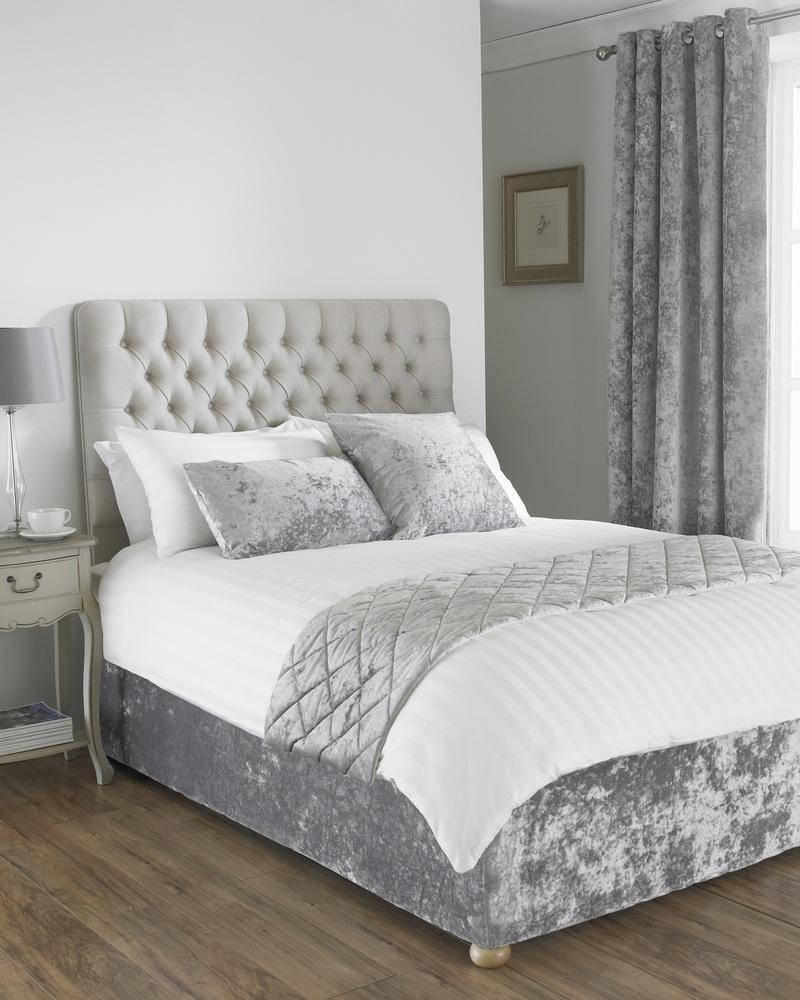 verona crushed velvet bed runner in silver terrys fabrics uk. Black Bedroom Furniture Sets. Home Design Ideas