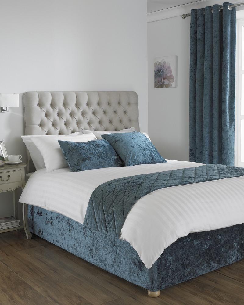 Riva Cushions And Throws Verona Crushed Velvet Bed Runner Teal Picture