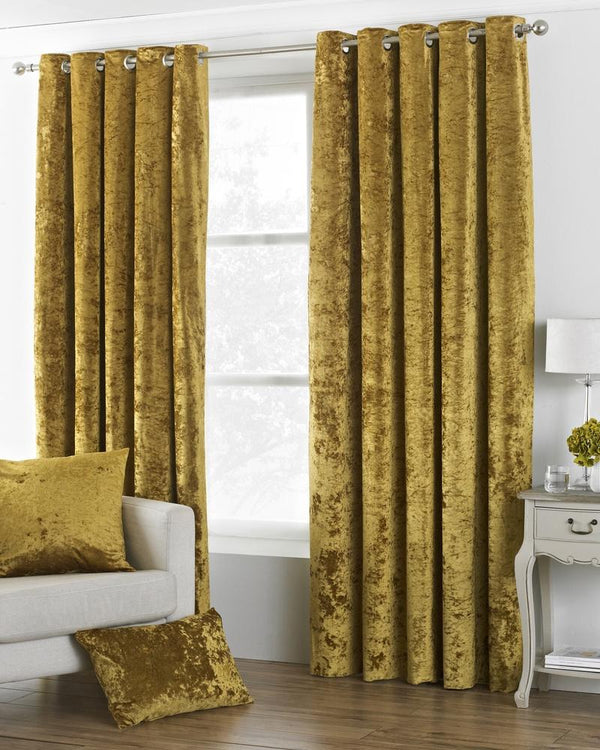 Verona Crushed Velvet  Ready Made Lined Eyelet Curtains Ochre