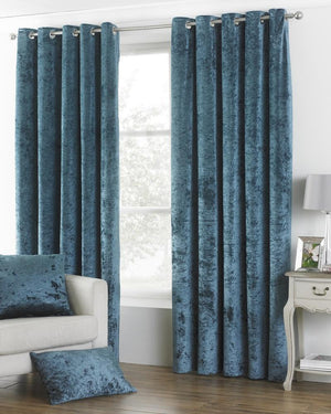 Verona Crushed Velvet  Ready Made Lined Eyelet Curtains Teal