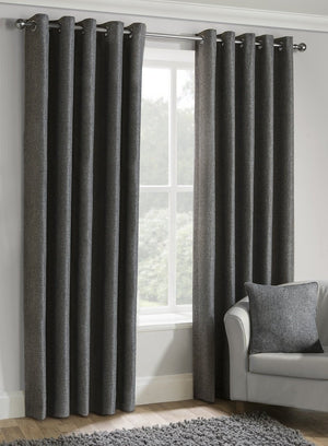 Versailles Ready Made Lined Eyelet Curtains Charcoal
