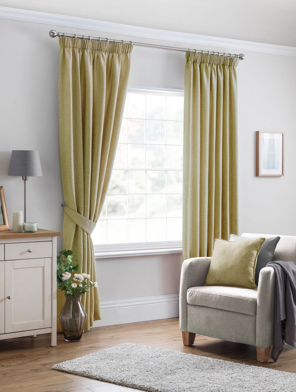 Versailles Ready Made Lined Curtains Ochre