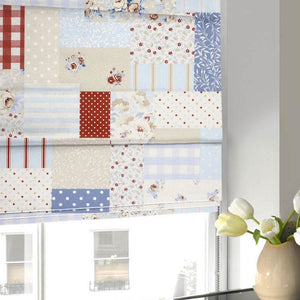 Vintage Patch Roman Blind Blue