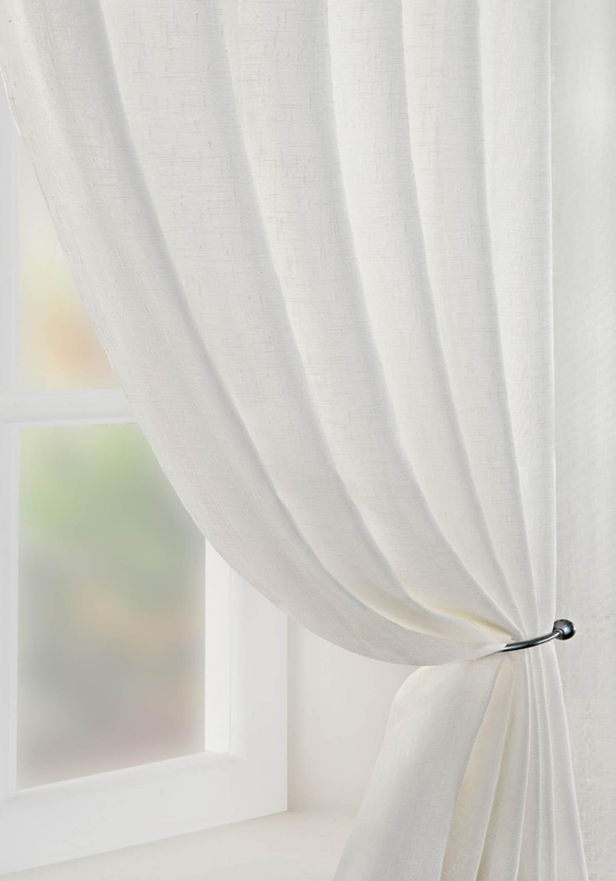 Pavilion Ready Made Curtains  Boucle Voile Curtain Panel Cream