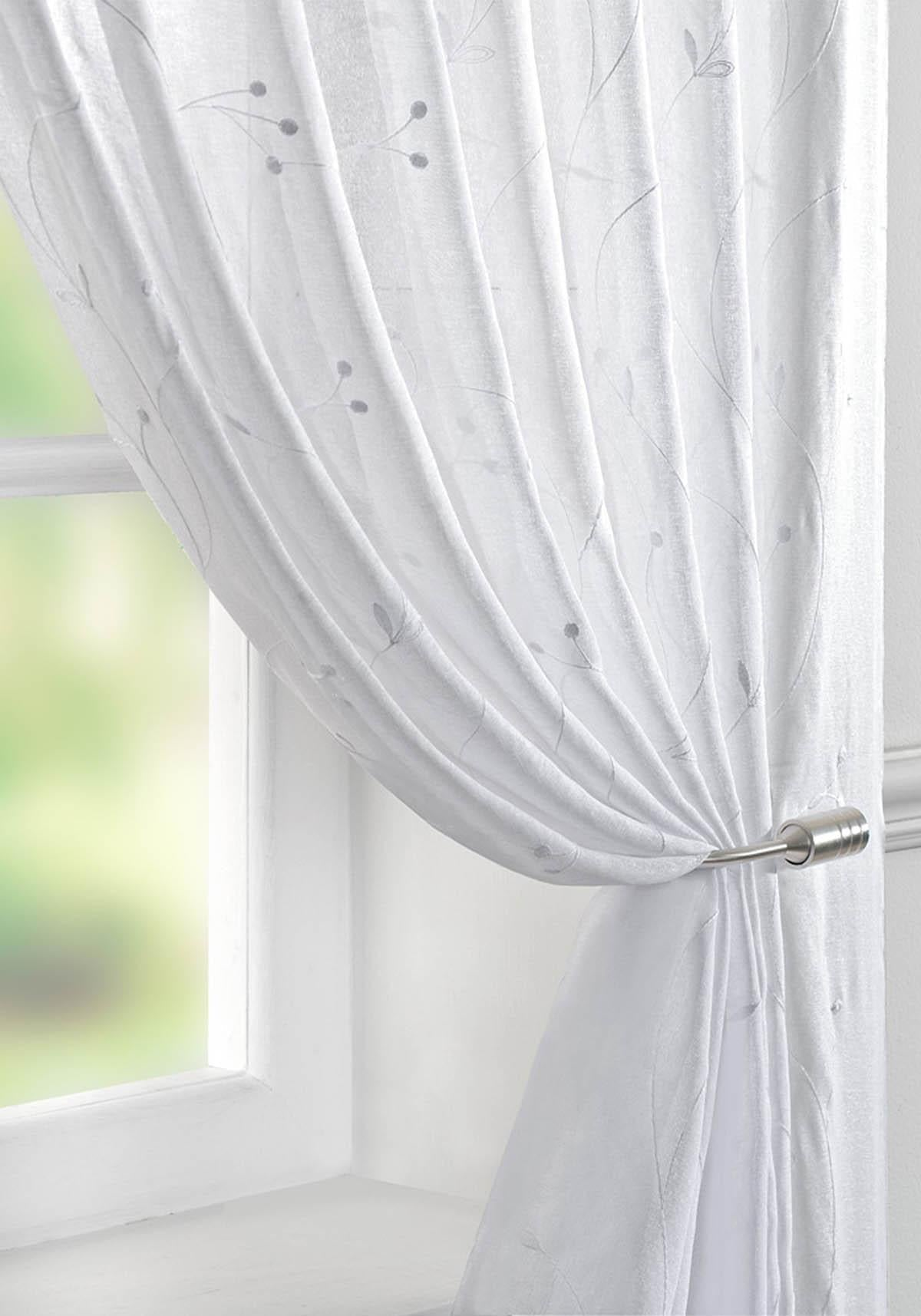 Pavilion Ready Made Curtains Juniper Voile Curtain Panel white Picture