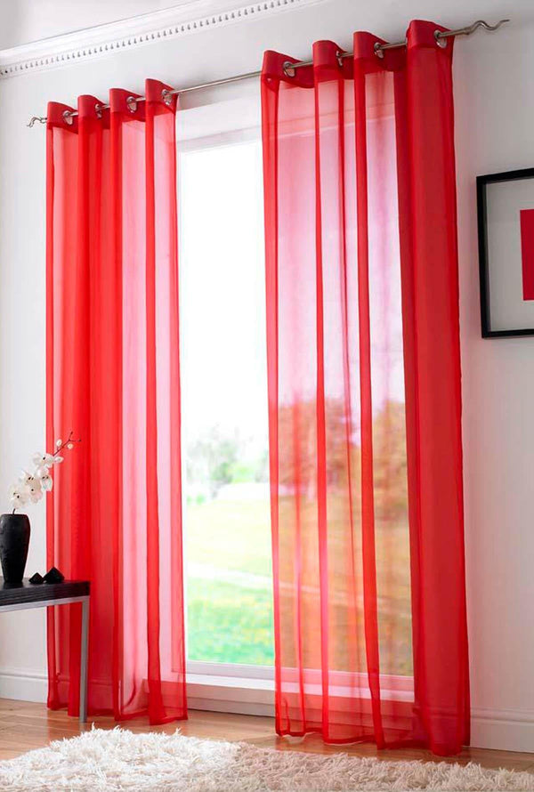 Plain Ring Top Voile Red