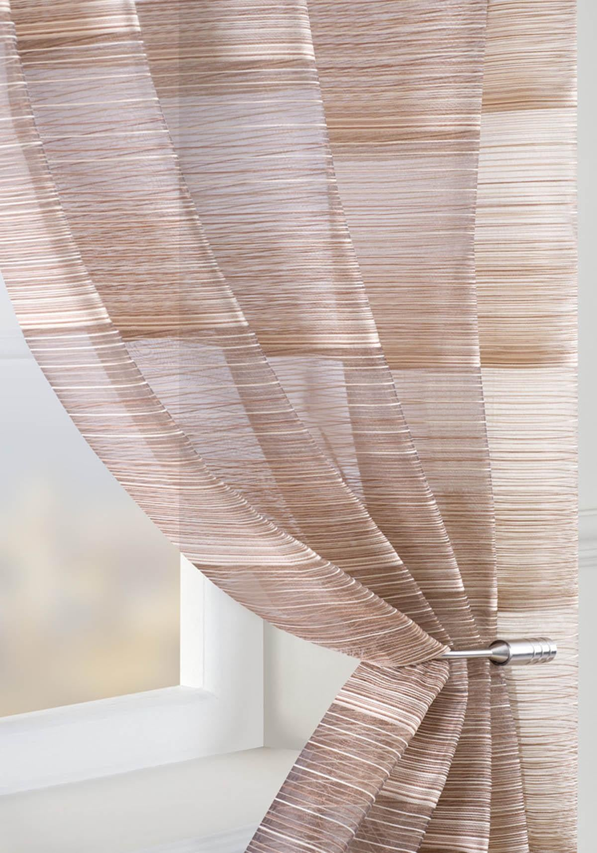 Pavilion Ready Made Curtains  Strata Voile Curtain Panel Brown