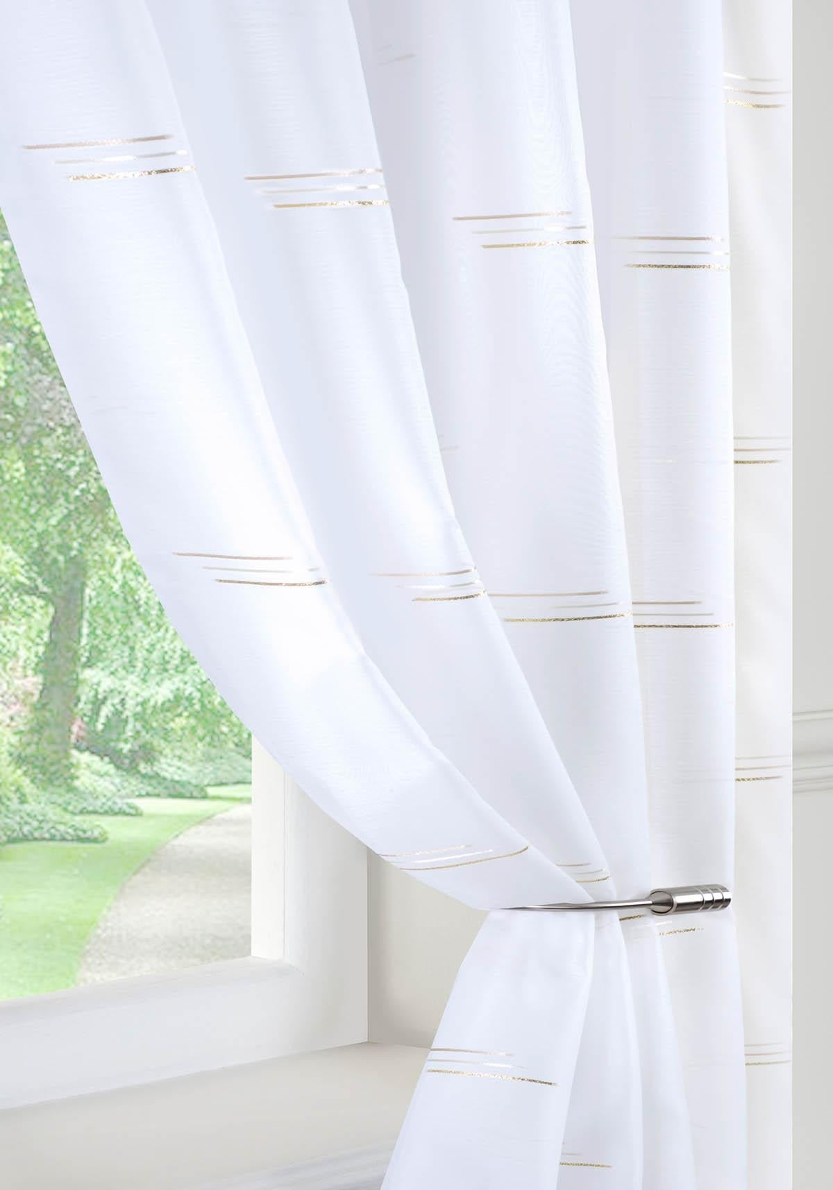 Pavilion Ready Made Curtains Trio Voile Curtain Panel Silver Picture