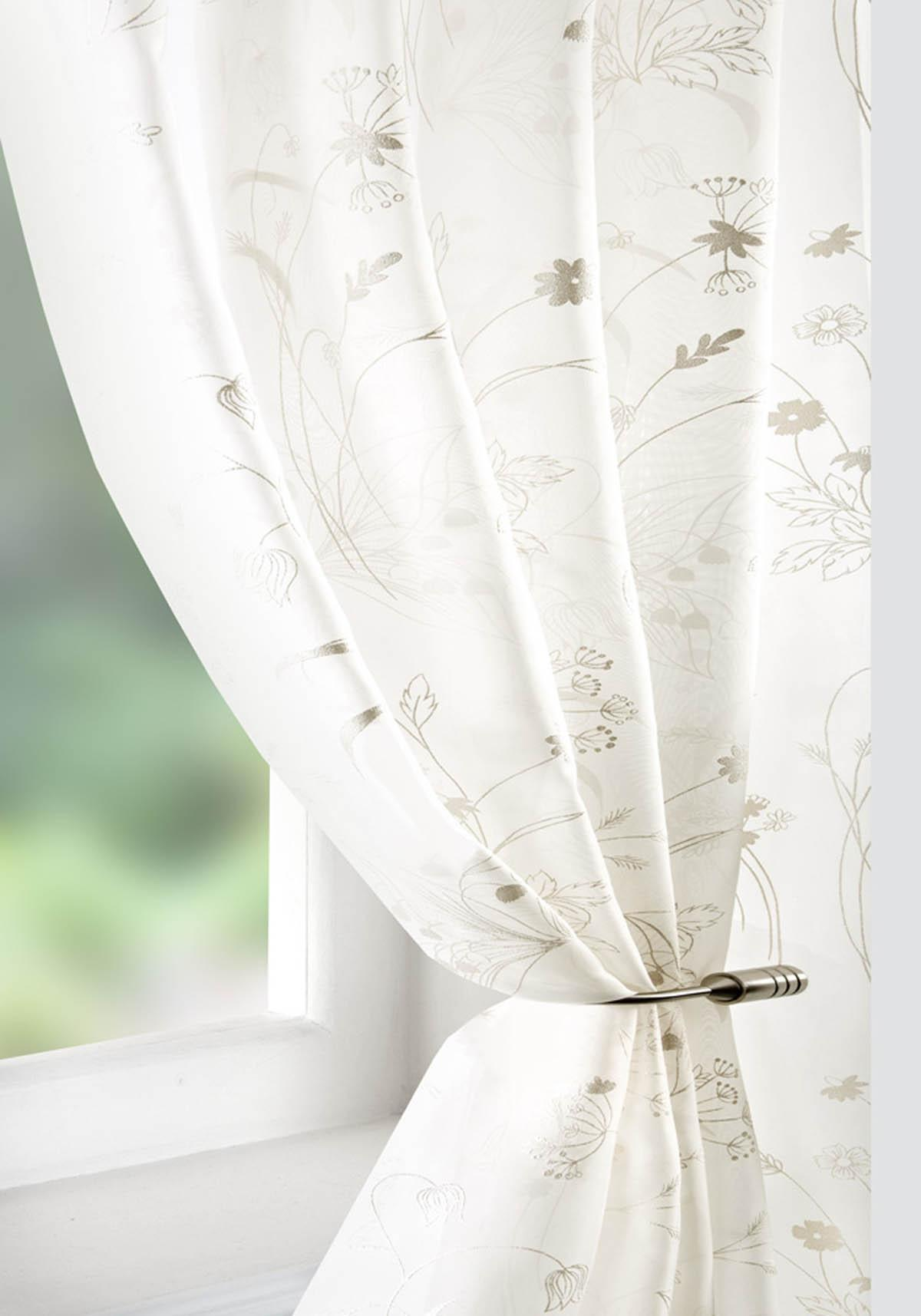Pavilion Ready Made Curtains Wild Flower Voile Curtain Panel Cream Picture