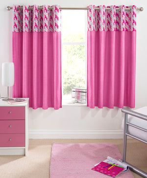 Vortex Ready Made Thermal Blackout Eyelet Curtains Pink
