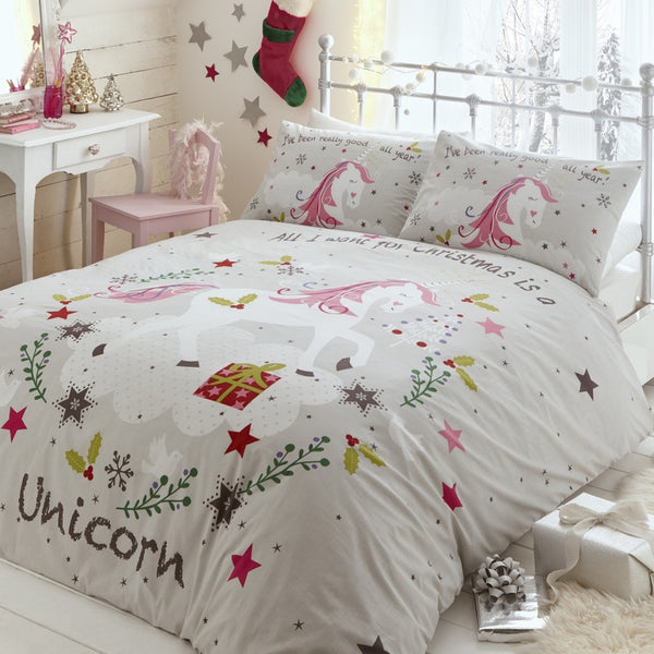 Wishing for Unicorns Christmas Bedding Set Multi
