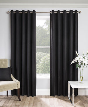 Warwick Ready Made Blockout Eyelet Curtains Black