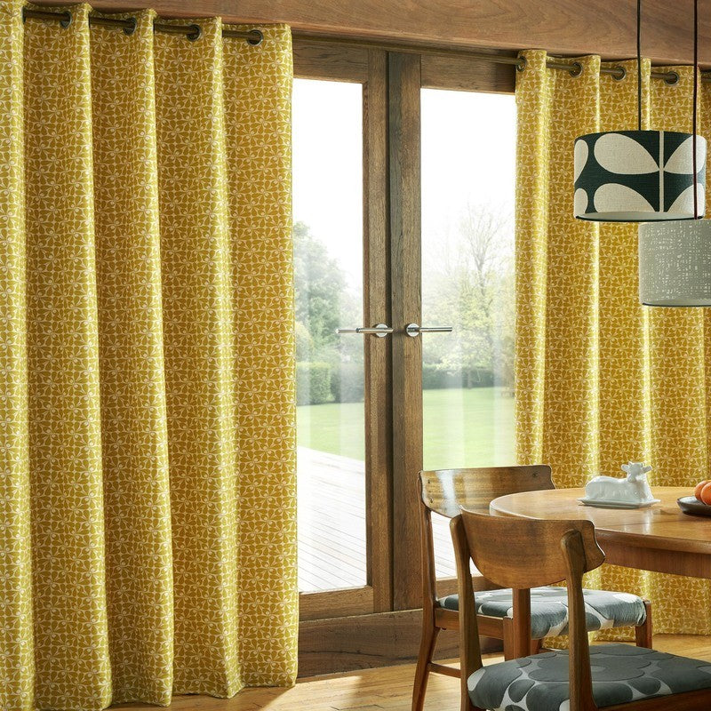 Ashley Wilde Ready Made Curtains  Orla Kiely - Woven Acorn Cup Ready Made Eyelet Curtains Dandelion