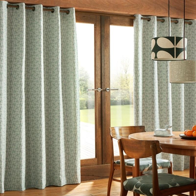 Ashley Wilde Ready Made Curtains  Orla Kiely - Woven Acorn Cup Ready Made Eyelet Curtains Mid Powder Blue