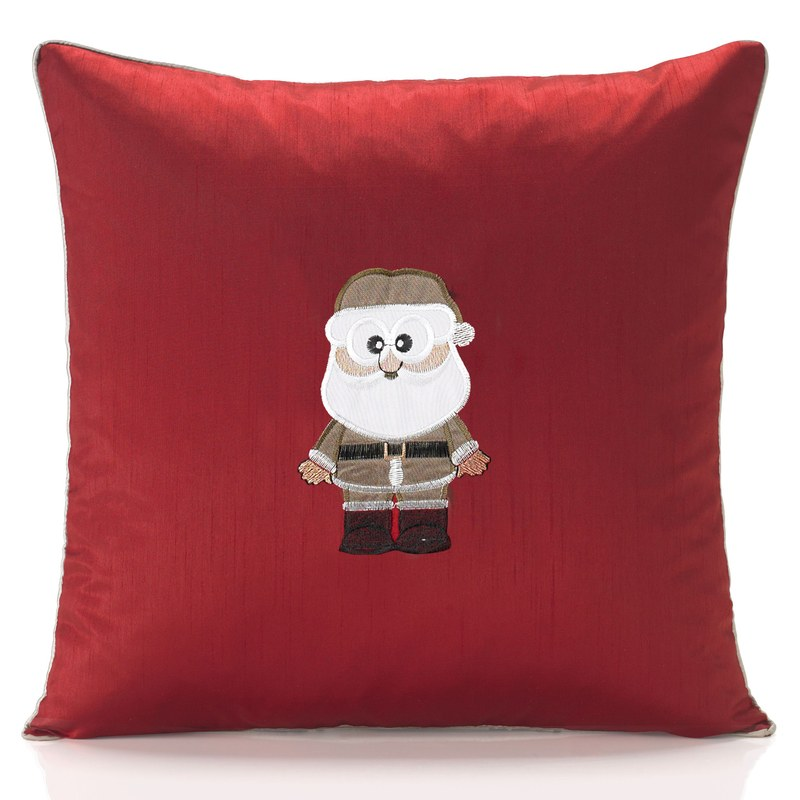 Alan Symonds Cushions And Throws Claus Embroidered Christmas C/Cover Red Picture
