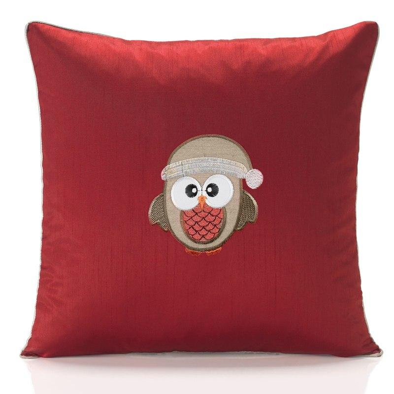 Alan Symonds Cushions And Throws Christmas Owl Embroidered C/Cover Red Picture