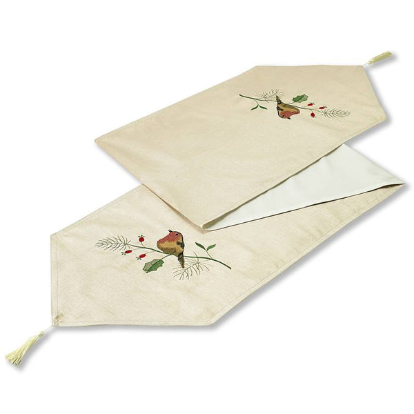Robins Embroidered Christmas Table Runner Cream