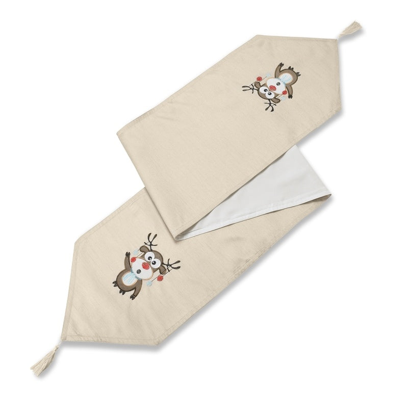 Christmas Table Runner Uk.Rudolph Embroidered Christmas Table Runner Cream
