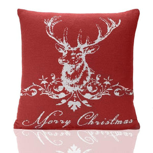 Stag Tapestry Christmas C/Cover Red
