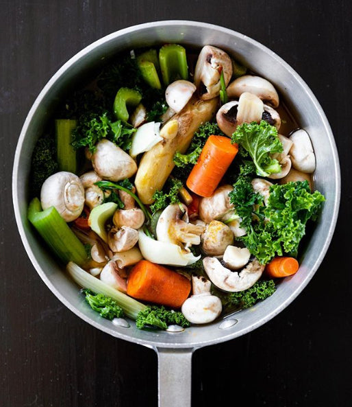 Our first online class, Aromatic Vegetable Broth Making, is Tuesday, May 12th!