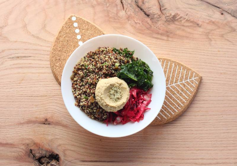 Bodhi Bowl with Quinoa-Pepita Pilaf, Sesame Kale, Refried Beans and Roasted Veggies